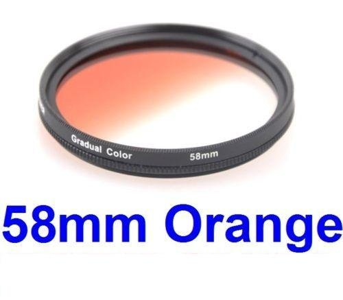 58MM Gradual Color Orange Blending Lens Filter for ANY Camera Lens with 58MM Filter Thread