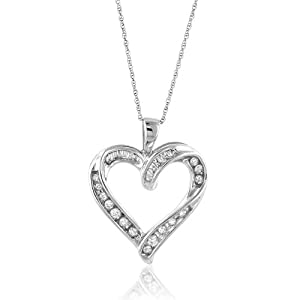 "10K White Gold 1/3 Carat Diamond Heart Pendant with 18"" rope Chain"