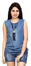 Carrel Brand Imported Denim Fabric Stylish Sleeveless Top Blue Colour Women L Size.