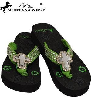 Montana West Cross Rhinestone Western Sandal Flip Flop Lime Green(Size-11) back-45066