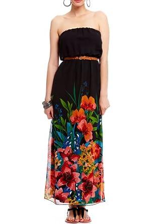 Black Strapless Maxi Dress on Amazon Com  2b Strapless Print Belted Maxi Dress 2b Day Dresses Blk Xs