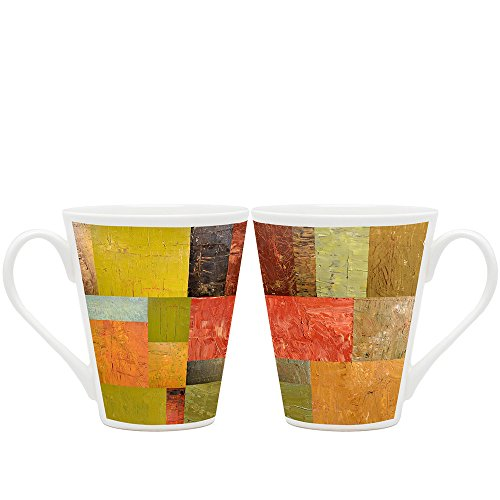 HomeSoGood Distinctively Painted Wall Abstract Design White Ceramic Latte Coffee Mug - 355 Ml (Set Of 2)