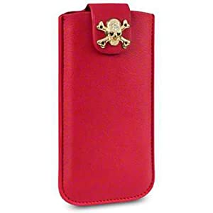 Terrapin PU Leather Pouch Case for iPhone 5S - Skullptured Red/Gold Skull