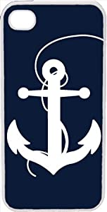 Large Navy Blue and White Faith Anchor Design on iPhone 4 4s Case Cover
