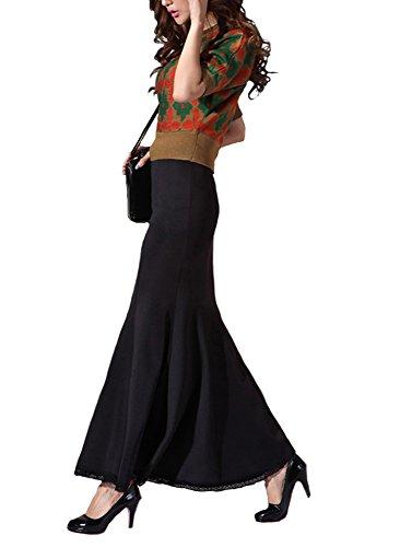 【Die Schatzkiste】 エレガント レディース タイト ロングスカート マキシ コンサート フォーマル 着やせ 魅力 春 無地 ボディライン Women's Long Skirt Tight Elegant Spring Style Body Line ブラック (L)
