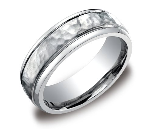 Men's Titanium 7mm Hammered Center Comfort Fit Round Edge Wedding Band, Size 12.5