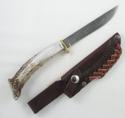 Silver Stag Knives 60 Straight Back Damascus Fixed Blade Knife with Crown Stag Handle