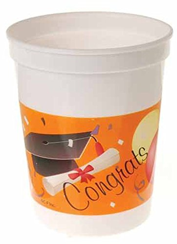 Dozen Graduation Theme Plastic 12oz Party Cups - 1