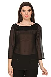 Oyshi Women's Self Design Top (BK1004M, Black, Medium)
