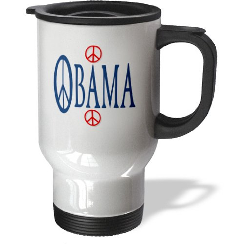 3Drose Obama With 60S Peace Symbol Stainless Steel Travel Mug, 14-Ounce