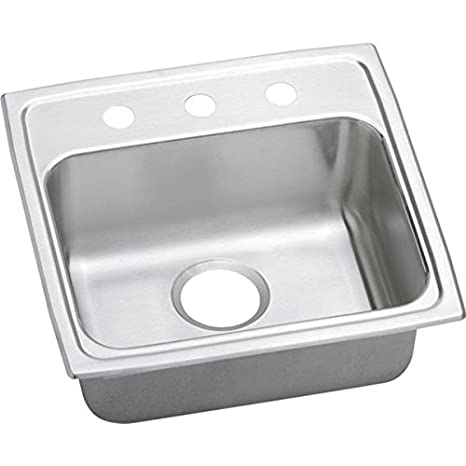 Elkao|#Elkay LRADQ1919402 18 Gauge Stainless Steel 19.5 Inch x 19 Inch x 4 Inch single Bowl Top Mount Kitchen Sink. 2 Hole.,