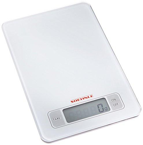 Soehnle 66100, Bilancia elettronica da cucina, display LCD, portata: 5 kg, precisione 1 grammo, colore: Bianco