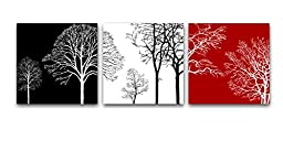 Wieco Art - Colorful Tree Modern 3 Panels Stretched and Framed Giclee Canvas Prints Contemporary Artwork Flower Pictures Photo Painting on Canvas Wall Art for Bedroom Home Office Decorations