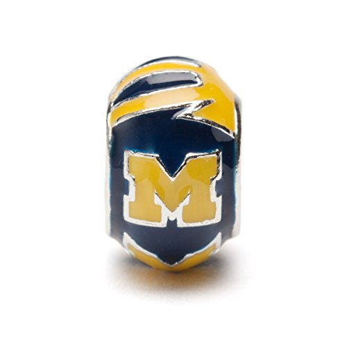 Michigan Wolverines Blue and Maize Round Bead Charm - Fits Pandora