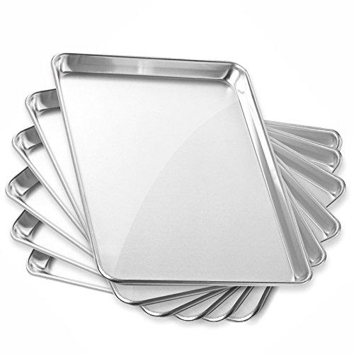Gridmann 13 x 18 Commercial Grade Aluminium Cookie Sheet Baking Tray Jelly Roll Pan Half Sheet - 6 Pans (13 Gauge Baking Sheet compare prices)