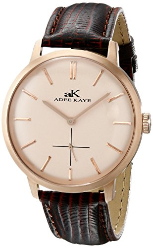 Adee Kaye Classique AK2225-MRG-RG 47.68x42.14mm Stainless Steel Case Brown Calfskin Mineral Men's Watch