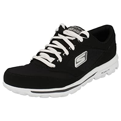 Ladies Skechers Walking Trainers 'Go Walk Baby - 13569' - Black/White, Size UK 5
