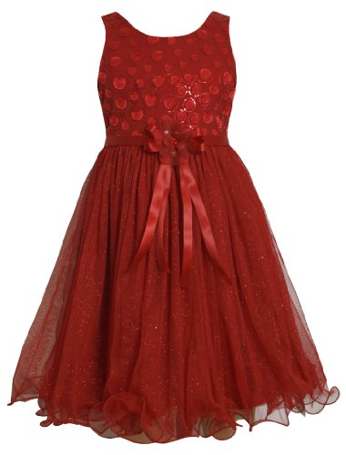 Red Sequin Embellished To Glittered Mesh Overlay Dress Rd4Mubonnie Jean Tween Girls Special Occasion Flower Girl Holiday Party Dress front-948118