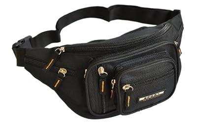 Sport Best Fashion - Sacoche Banane polyester - Homme ou Femme - Porté ceinture - 8 poches avec fermeture zippée