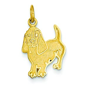 14K Yellow Gold Beagle Dog Charm Pendant Jewelry