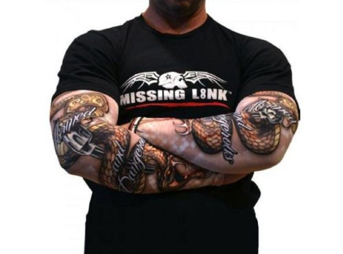 Missing Link ArmPro Armed And Dangerous Compression Arm Sleeves. (Looks Like Tattoos). Protects from Sunburn. APAD