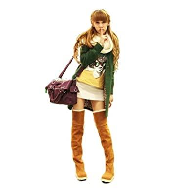 2013newestseller Girls Ladies Slim Knee High/ Over Knee High Boots Beauty Thigh High Boots (Yellow, CN 37)