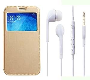 Novo Style Samsung GalaxyE5 Window View Premium Folio Flip Cover Case W Stand View+ Earphone / Handsfree with 3.5mm jack