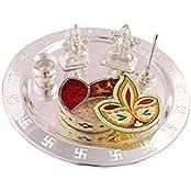 German Silver Plated Pooja Plate Pooja Thali Pooja Articles Dealer Silver Wilver Silver Plated Swastika Thali... - B01KXHZJA0