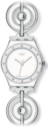 Swatch Ladies Water Ripple White Dial Silver Tone Bracelet Watch