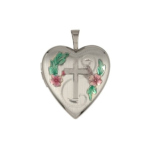 Heart Shape Cross Design Sterling Silver Locket With Colored Flower Accents