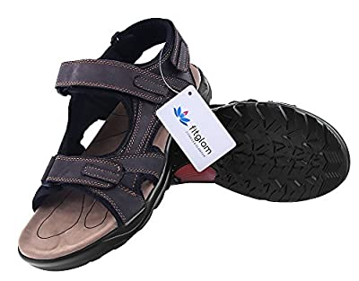 Fitglam Men's Shoes Leather Outdoor Sport Sandals