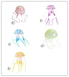 Viskey Big Size Luminous Artificial Jellyfish for Aquarium Fish Tank Ornament Pack of 5