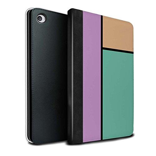 STUFF4 PU Pelle Custodia/Cover/Caso Libro per Apple iPad Mini 4 tablet / 3 Piastrelle/Turchese / Piastrelle Pastello disegno
