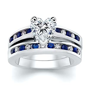 3.51 ct Heart Diamond W Round Blue Sapphire Ring Set
