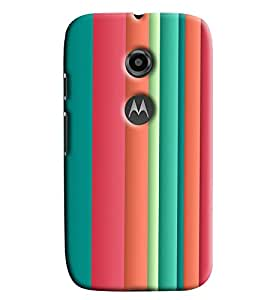 Blue Throat Colored Stripes Pattern Printed Designer Back Cover For Moto E2