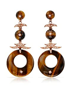 Genuine P&P Silver (TM) Earrings. P&P Silver Cubic Zirconia Sterling Silver Earrings - Material/Stone: Cubic Zirconia and Tigers Eye. 19.3 Grams in Weight and 66 mm in Length. 100% Satisfaction Guaranteed.