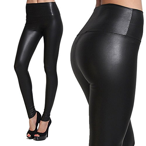 Tagoo Womens Sexy High Waist Leather Leggings Black Size L Slim Fit Shiny Skinny Metallic Full Length Stretchy Wet Look Wrinkle Resistant