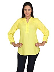 lol Yellow Color Plain Casual Top for women