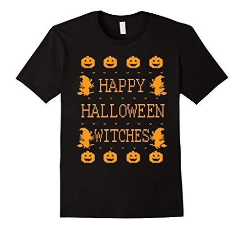 Men's Happy Halloween Witches 2-bit Pixelated Costume T-Shirt Medium Black (Halaween Costume)