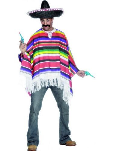 MENS NEW MEXICAN PONCHO WILD WEST FANCY DRESS