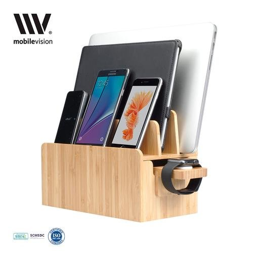 MobileVision Bamboo Charging Station & Apple Watch Adapter