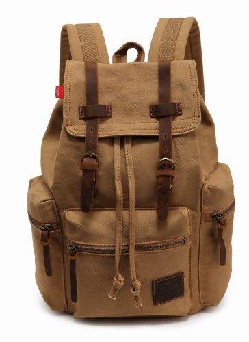 KINGLAKE Latest Generic Vintage Men Casual Canvas Leather Backpack Rucksack Bookbag Satchel Hiking Bag (Khaki)
