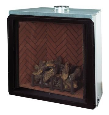 36 Lp Direct Vent Fireplace With Herringbone Red Refractory Panels