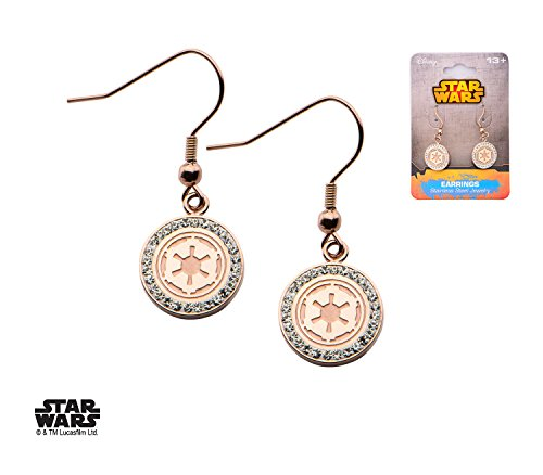 Licensed Star Wars Rose Gold IP Stainless Steel CZ Imperial Dangle Earrings