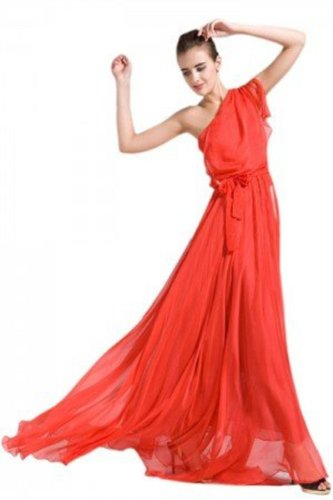 Elegant Draped One Shoulder Maxi Evening Dress Ball Gown with Sash