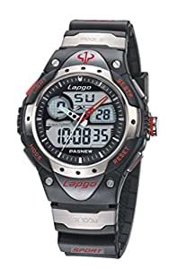 MONSTER-MASTER PAS Waterproof Sports Dual Time Casual Boys Wrist Watches (RedFontStyle)
