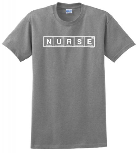Nurse Spelled With Periodic Table Elements T-Shirt Large Sport Grey