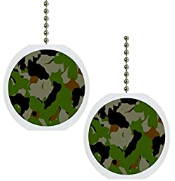 Set of 2 Camouflage Camo Military Solid Ceramic Fan Pulls