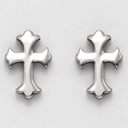 Stainless Steel Florentine Cross Stud Earrings