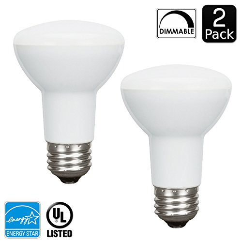 Luxrite LR31800 (2-Pack) LED8BR20/R20 8-Watt LED BR20 Flood Light Bulb, Equivalent to 50W Incandescent, Dimmable, Warm White 2700K, 450 Lumens, E26 standard base, UL Listed and Energy Star Qualified (Flourescent Bulbs Dimmable compare prices)